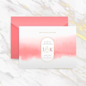 Convite de casamento romântico com vetor de envelope