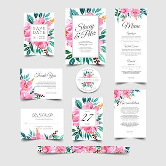 Convite de casamento romântico conjunto floral