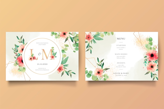 Convite de casamento romântico e modelo de menu