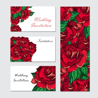 Convite de casamento rosa de mão desenhada