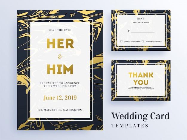 Convite de casamento, rsvp e cartão de agradecimento