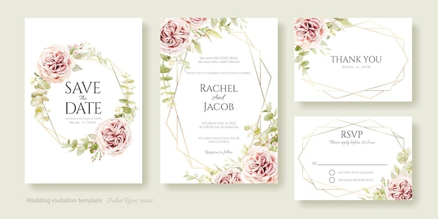 Convite de casamento salvar a data, obrigado modelo de cartão rsvp rosa de julieta e folhas de eucalipto
