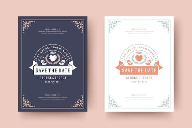 Convite de casamento salvar a ilustração do modelo elegante tipográfico do cartão de data