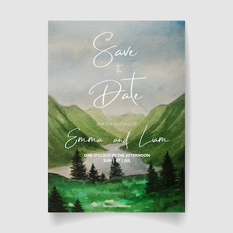 Convite de casamento, salvar a paisagem em aquarela de data com montanhas, lago e céu.