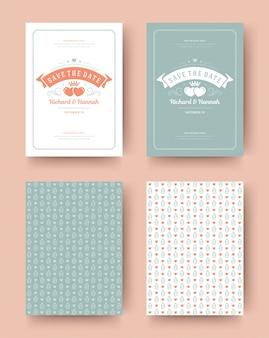 Convite de casamento salvar o design tipográfico modelo vintage de cartões de data