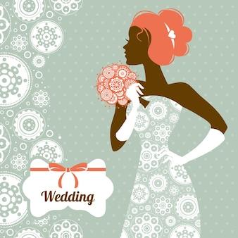 Convite de casamento. silhueta linda noiva