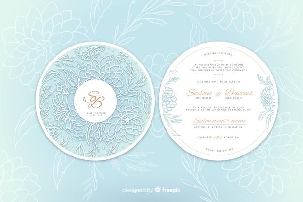 Convite de casamento simples com flores