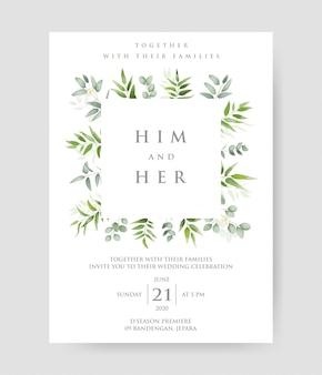 Convite de casamento simples com grinalda decorativa de ramos de eucalipto & padrão de quadro.
