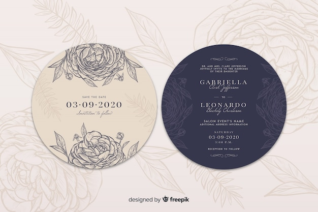 Convite de casamento simples com mão desenhadas rosas
