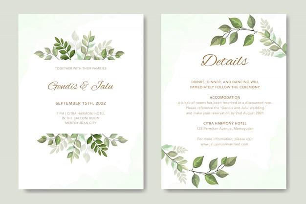 Convite de casamento simples com vetor de folhas