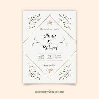 Convite de casamento simples e agradável