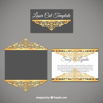 Convite de casamento sofisticado com detalhes dourados