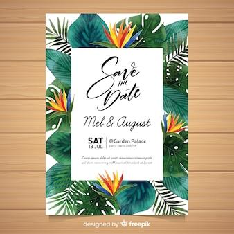 Convite de casamento tropical em aquarela
