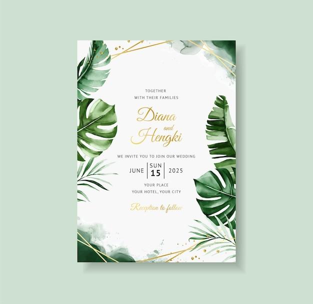 Convite de casamento tropical verde