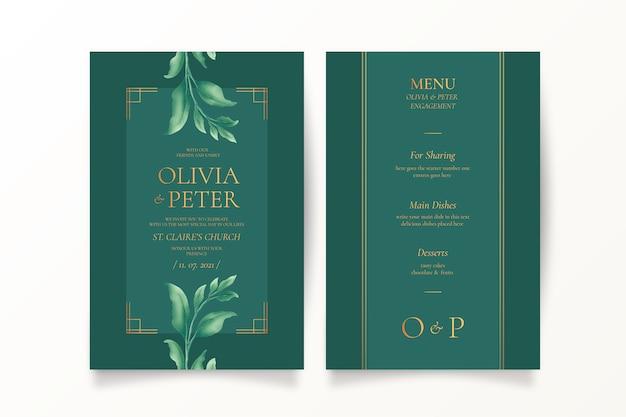 Convite de casamento verde e modelo de menu