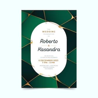 Convite de casamento verde geométrico em gradiente com espaço de texto oval