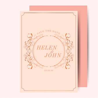 Convite de casamento vintage art nouveau ouro rosa