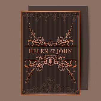 Convite de casamento vintage bronze art nouveau