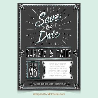 Convite de casamento vintage com estilo desenhado a mão