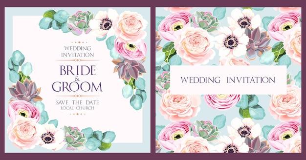 Convite de casamento vintage com flores e suculentas altas.