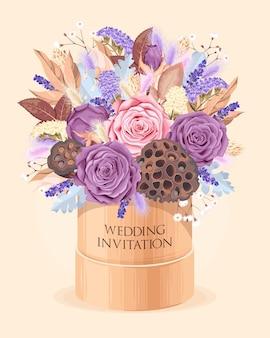 Convite de casamento vintage com flores secas bem detalhadas