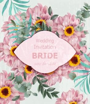 Convite de casamento vintage com margarida flores