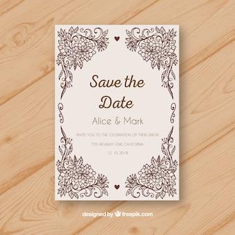 Convite de casamento vintage com ornamentos florais