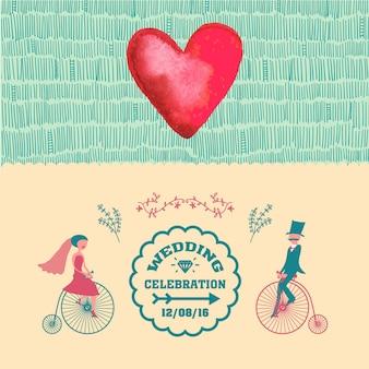 Convite de casamento vintage de vetor, cartão retro com coração