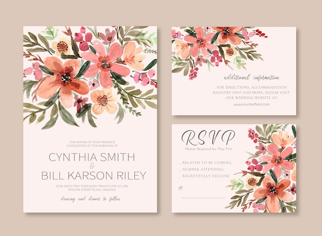 Convite de casamento vintage em aquarela floral vermelho creme e empoeirado