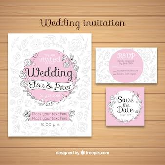 Convite de casamento wirh ornamentos florais