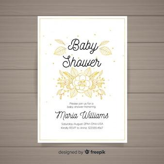 Convite de chuveiro de bebê aquarela