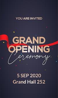 Convite de conceito de cartaz de cerimônia de inauguração. modelo de festa de decoração de evento de inauguração.