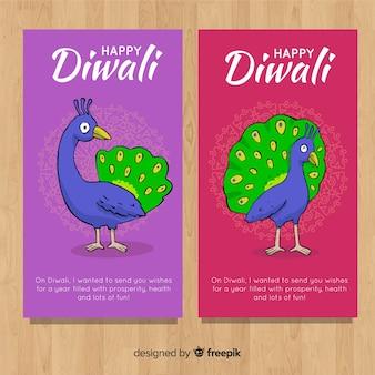 Convite de diwali com design de pavão