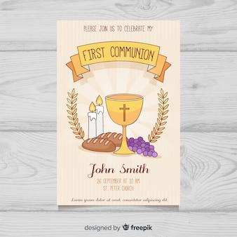 Convite de elementos de primeira comunhão de mão desenhada