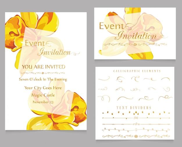 Convite de evento e divisores de texto com elementos caligráficos
