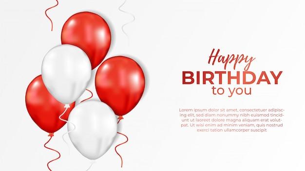 Convite de feliz aniversário com balão branco vermelho