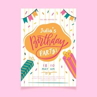 Convite de feliz aniversário com confete