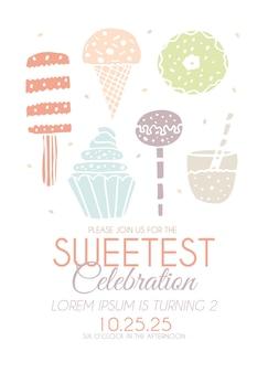 Convite de feliz aniversário com doces em vetor