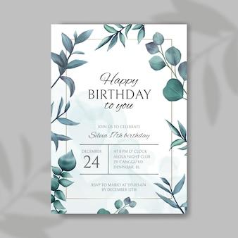 Convite de feliz aniversário com folhas