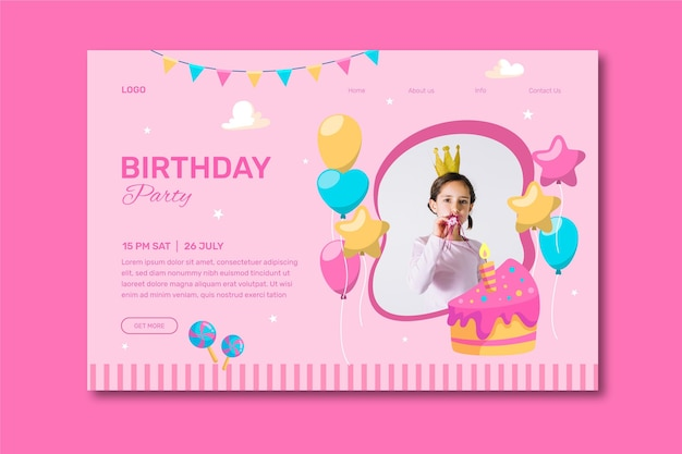 Convite de feliz aniversário com foto de menina