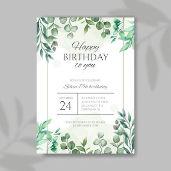 Convite de feliz aniversário com moldura de folhas