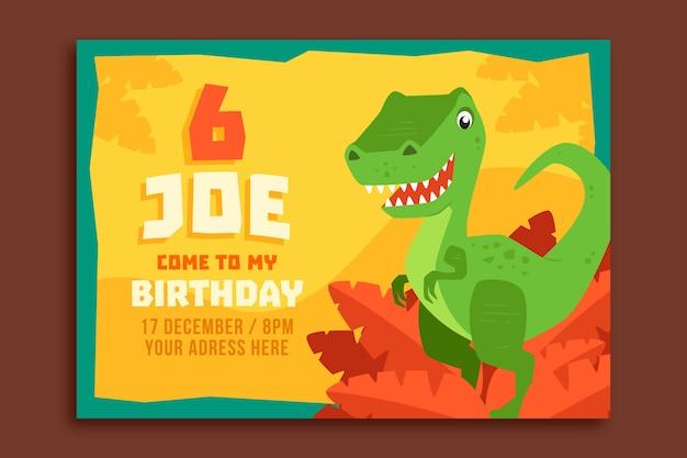 Convite de feliz aniversário infantil com dinossauro
