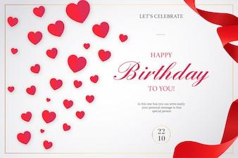 Convite de feliz aniversário romântico com fitas vermelhas