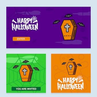 Convite de feliz dia das bruxas com caixões