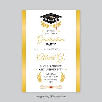 Convite de festa de formatura branco e dourado