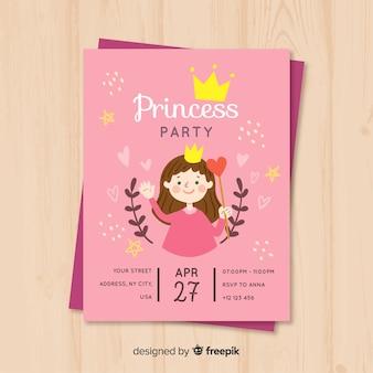 Convite de festa de princesa desenhada de mão