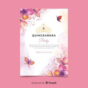 Convite de festa de Quinceañera com borboletas