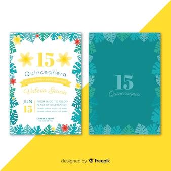 Convite de festa de quinceañera com folhas