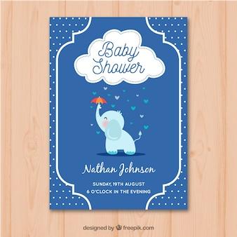 Convite de festa do bebé com elefante em mão estilo desenhado