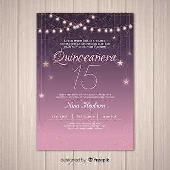 Convite de festa estrelado quinceañera